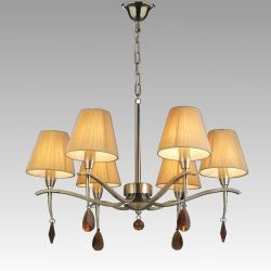 Design Chandelier OXFORD 6xЕ14 230V Antic Brass / Beige Fabric / Amber Crystal