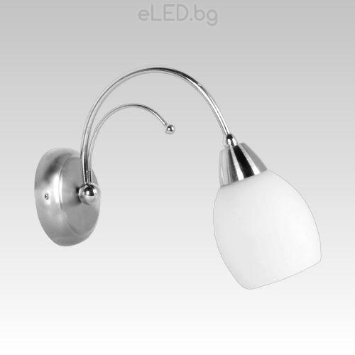 best service 56b25 b69a0 Wall Lamp MELODY 1xE14 230V Nickel Satin / Chrome / Opal