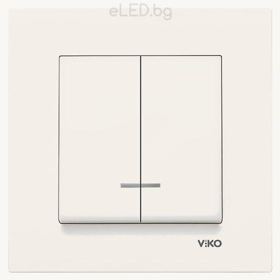 2-gang One-way Switch KARRE Illuminated Beige: eLED.bg
