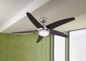 LED FAN FABIOLA 2xE14 230V body: nickel matt / glass; blades: MDF wenge