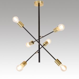 Hanging Ceiling Lamp LANNY 6xE27 230V Black / Gold metal