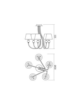 Hanging Ceiling Lamp GWEN 5xE14 Metal / Glass / Fabric